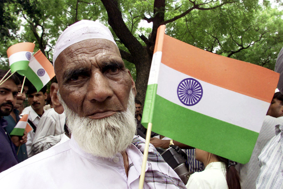 A Muslim activist during a demonstration in New Delhi