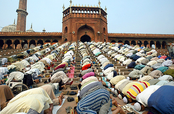 Muslims pray at the Jama Masjid, India's biggest mosque