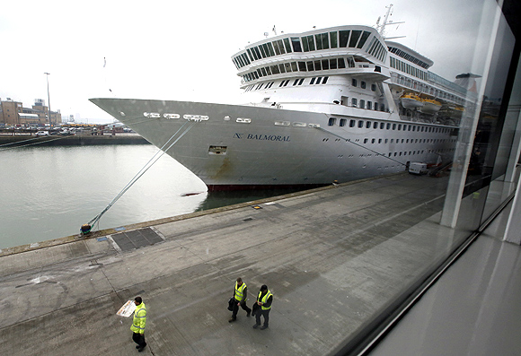 The cruise ship Balmoral is prepared before passengers board it