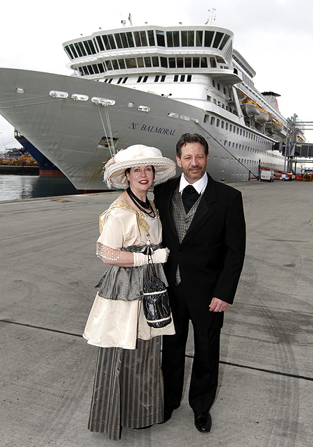 Newlyweds Mary Beth Crocker Dearing and Tom Dearing of Newport, Kentucky pose while wearing period costume before boarding the Titanic Memorial Cruise in Southampton