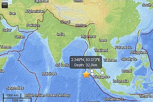 Map showing the epicentre of the earthquake