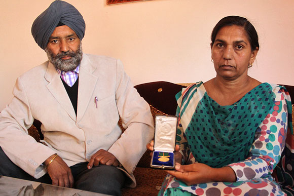 Mr and Mrs Singh with the Ashok Chakra