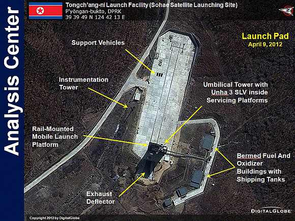 The Tongchang-ri rocket launch facility in North Korea is seen in this handout satellite image from DigitalGlobe taken on April 9 and released April 11
