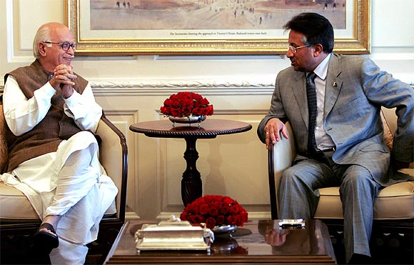 Former Pakistan President Pervez Musharraf with BJP leader LK Advani