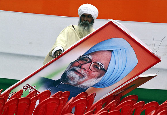 A billboard of Prime Minister Manmohan Singh
