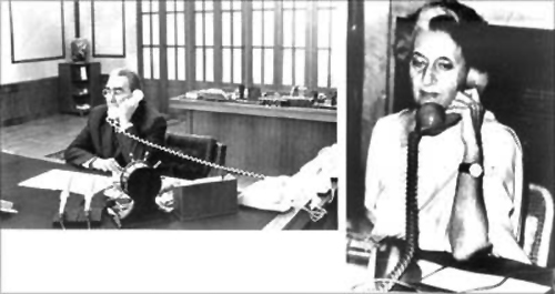 Prime Minister Indira Gandhi with Soviet leader Leonid Brezhnev over a newly opened communication line, November 2, 1981