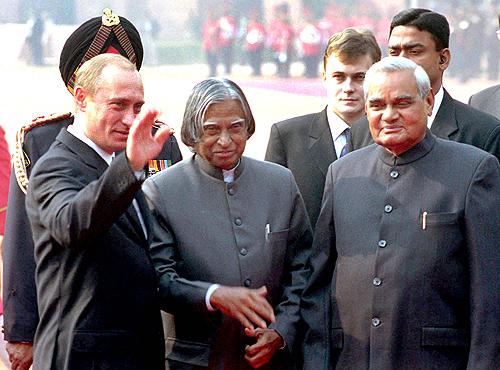 Russian  President  Vladimir Putin with President A P J Abdul Kalam and Prime Minister Atal Bihari Vajpayee at Rashtrapati Bhavan in New Delhi, December 4, 2002