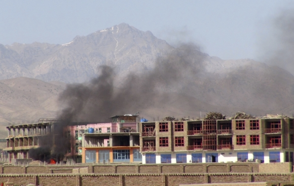 Smoke rises from the site of an attack in Paktia province