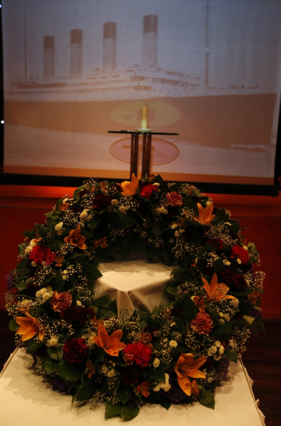 A wreath is seen before a memorial service on board the Titanic Memorial Cruise