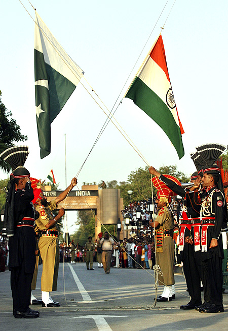 The Border Security Force and Pakistani Rangers during the daily parade at the Wagah border