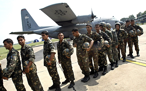 The Indian Air Force's Garud officers at a joint exercise between the IAF and the US Air Force