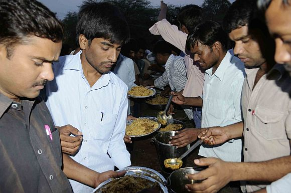 Students at the Osmania University participating in a beef festival on Sunday
