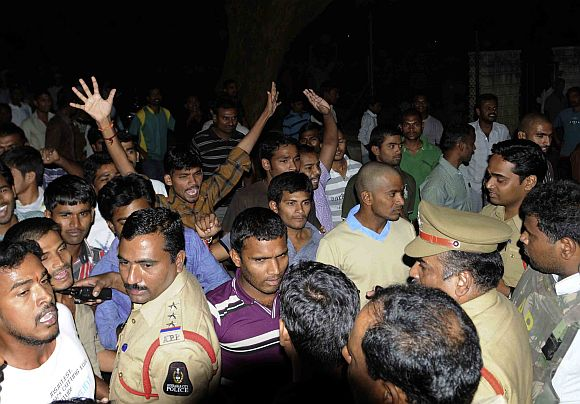 Student groups clash over the beef festival at the Osmania University on Sunday