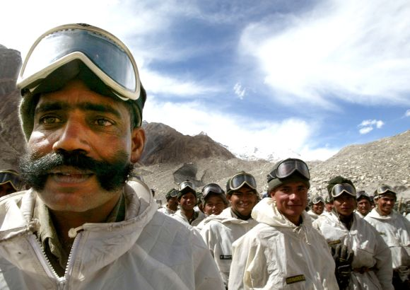 File image of Indian army soldiers mustering at their base camp after returning from training at Siachen glacier.