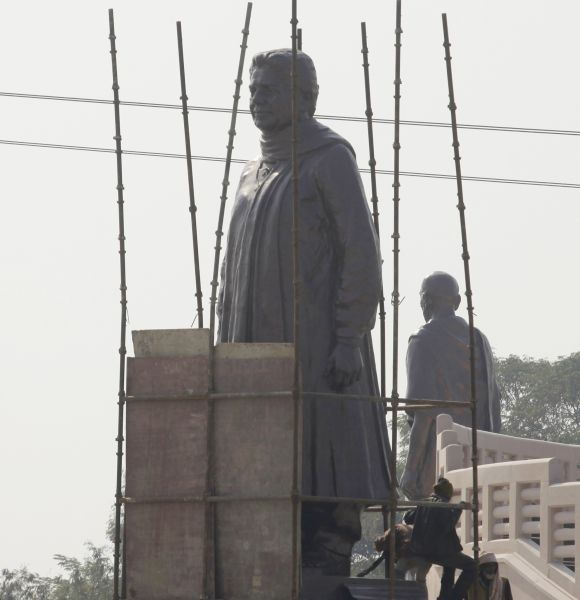 A statue of Mayawati being covered during the recent UP election campaign, on the Election Commission's orders