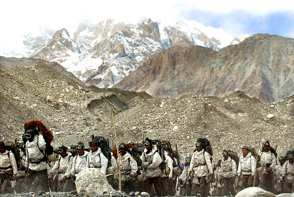 Indian soldiers at the Siachen base camp. This is the highest battlefield in the world where temperatures dip to minus 52 degrees Celsius