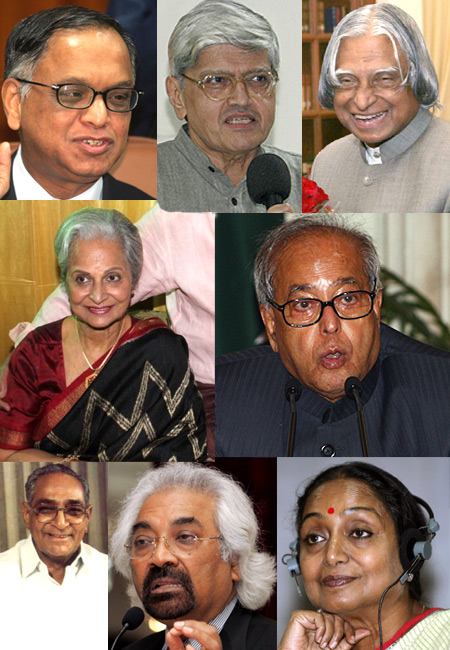 From top, left, N R Narayana Murthy, Gopal Gandhi, A P J Kalam, Waheeda Rahman, Pranab Mukherjee, Motilal Vora, Sam Pitroda and Meira Kumar
