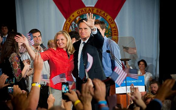 Mitt Romney with his wife Ann at a public appearance