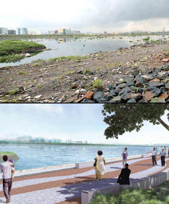 (Above) A picture of the Mithi River from PK Das's book 'On the Waterfront', (Below) The proposed revamp of Mithi River