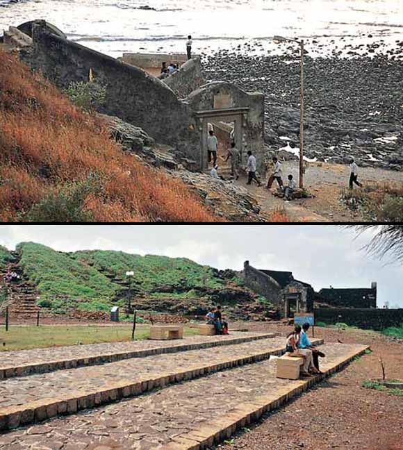 Bandra Fort then (above) and now (below) from PK Das's book On the Waterfront