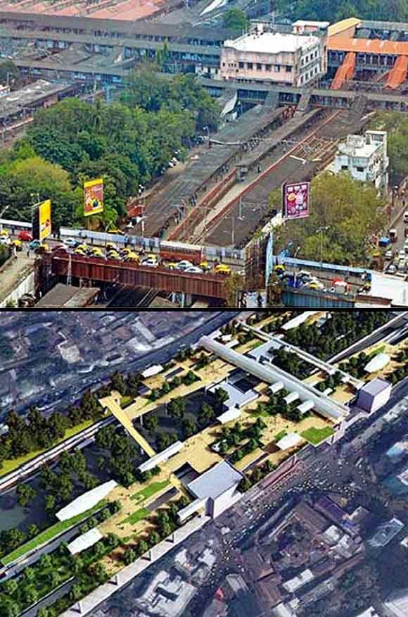 The present day Dadar station (above) and the proposed plan (below).