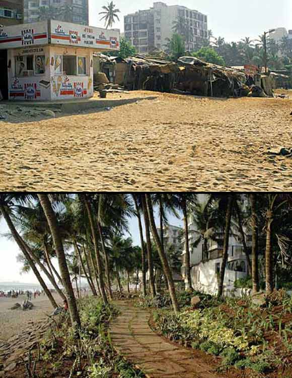 (Above) With no pavements, illegal stalls and debris, Juhu beach used to be a mess (Below) The land they recovered after getting the shanties and other encroachment out was used to beautify create a garden with a walking track