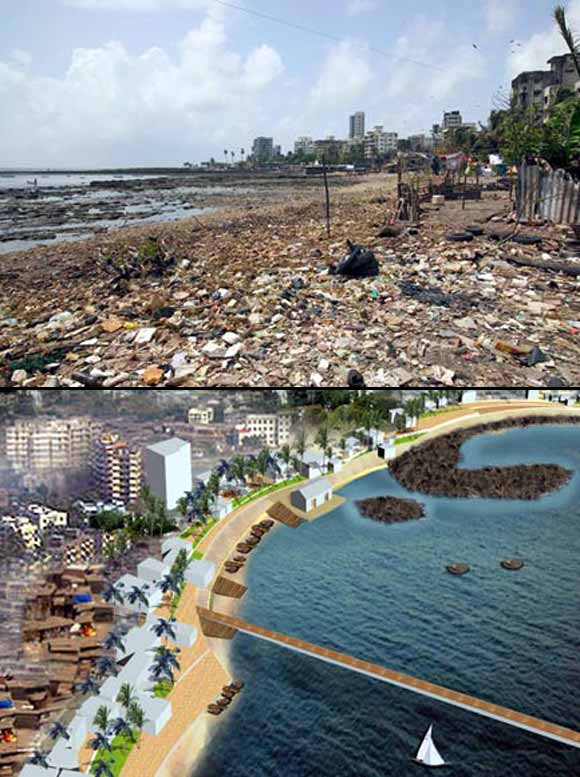 (Above) Today, thanks to the isolation it faces, Chimbai Beach is pretty much the backyard of Bandra. (Below) With various plans approved for the 1km stretch, Chimbai could well look somewhat like this