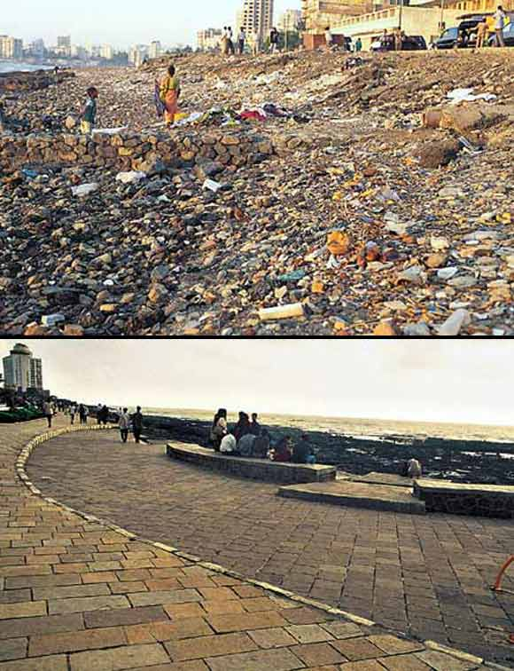 (Above) Not very long ago, Bandra Bandstand used to have no place to stroll or even facilities to simply sit and watch the sun go down. (Below) The 1.5km stretch now has a central garden, lawns, street furniture and a charming promenade.