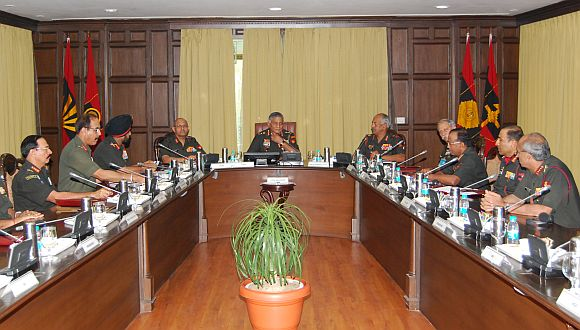 Army chief V K Singh chairs a meeting of commanders in New Delhi