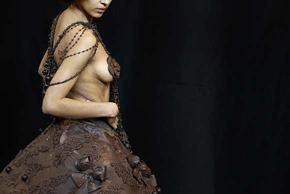 A model presents a creation backstage at the 1st Salon du Chocolat (Zurich Chocolate Show) in Zurich