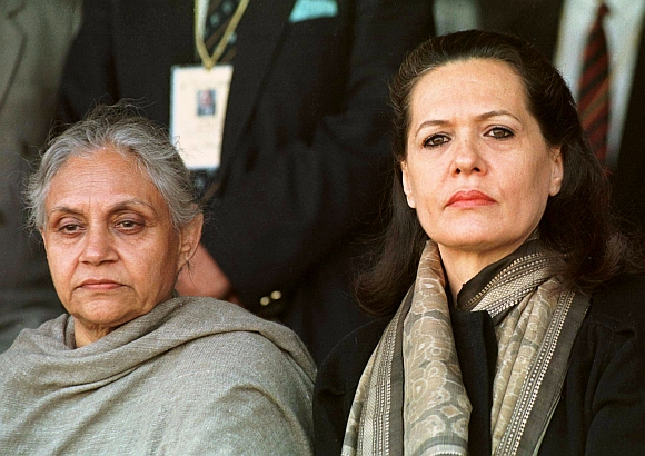 Congress president Sonia Gandhi (right) with Delhi Chief Minister Sheila Dixit