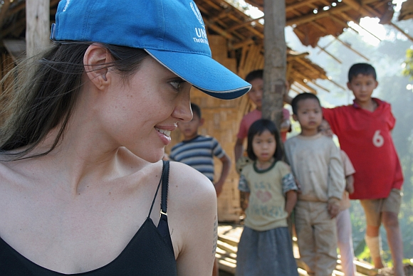 Angelina Jolie is seen with Karenni refugee children in Thailand's Mae Hong Son Province, near the Thai-Myanmar border