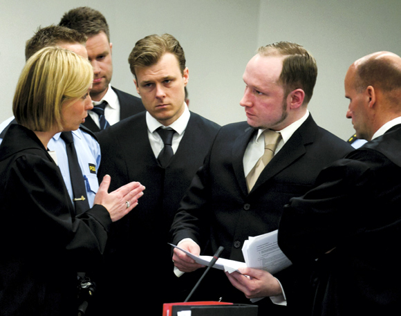 Prosecutor Inga Bejer Engh speaks to Norwegian mass killer Anders Behring Breivik