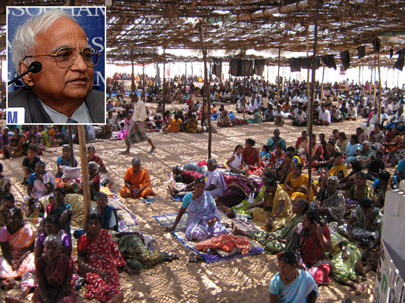 A large number of protestors, mostly women, at Idinthakarai, where 12 people went on a hunger strike against the Kudankulam nuclear power plant. Inset: Dr G R Srinivasan