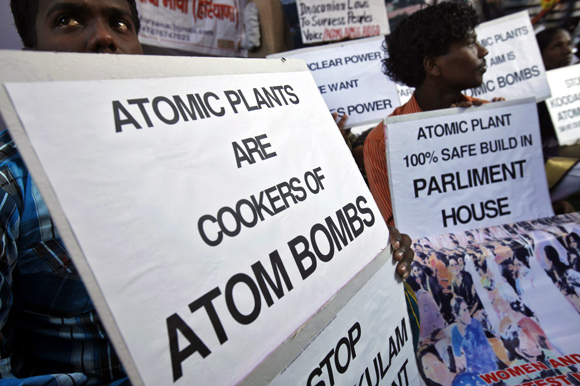 Activists in New Delhi demand the scrapping of India's nuclear projects