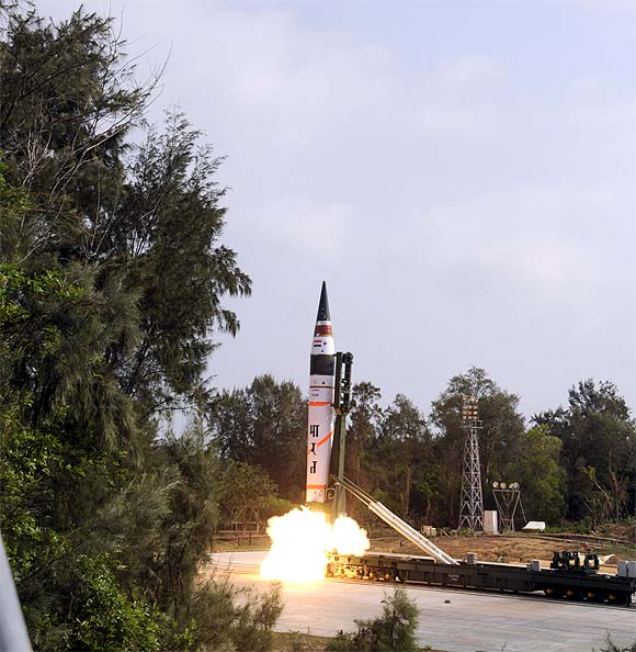 A surface-to-surface Agni V missile is launched from Wheeler Island