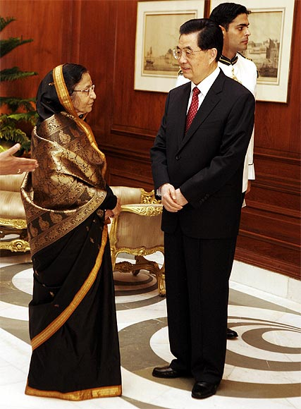 Chinese President Hu Jintao with President Pratibha Patil