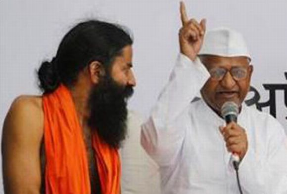 Ramdev with Anna Hazare during an anti-corruption protest in New Delhi
