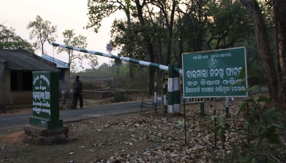 A police check-post is seen in the remote Kandhamal district of Odisha from where two Italians were abducted by Maoists in March, 2012