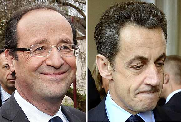 Francois Hollande, Socialist party candidate, and Nicolas Sarkozy, France's incumbent president photographed during the first round 2012 French presidential election April 22