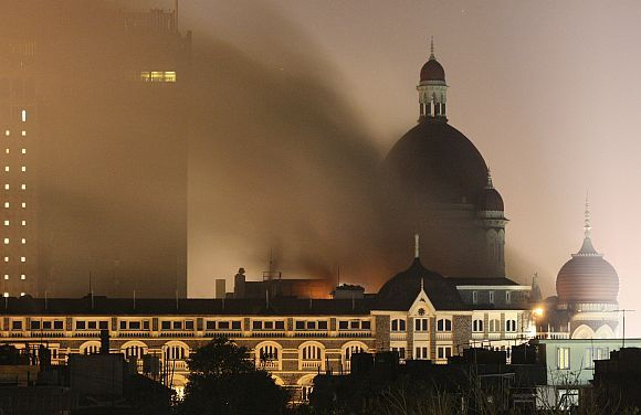 The burning Taj Mahal Palace Hotel in Mumbai during the 26/11 terror strikes