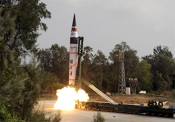 Surface-to-surface Agni V missile is launched from Wheeler Island off Odisha