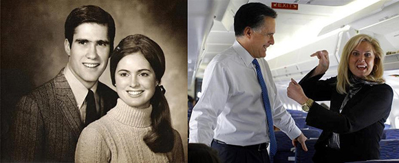 Mitt Romney and his wife Ann in 1969 (L); Mitt Romney and his wife Ann now.
