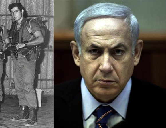 Benjamin Netanyahu as a Sayeret Matkal commando in the 1970's (L);  Israeli Prime Minister Benjamin Netanyahu now
