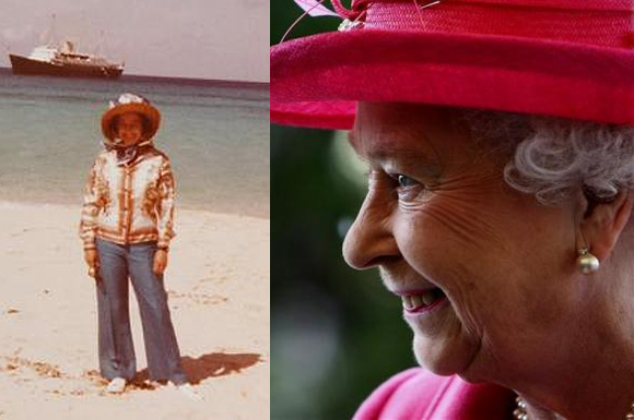 Queen Elizabeth in the 1970s.(L); Queen Elizabeth now