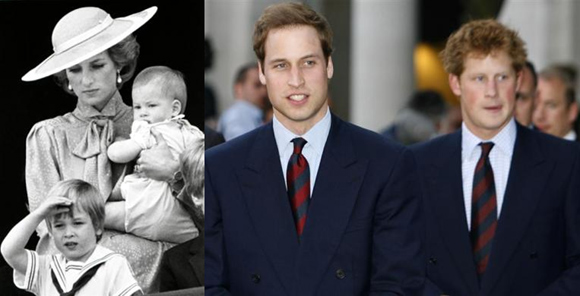 Princes William and Harry with their mother in 1985; Princes William and Harry now.