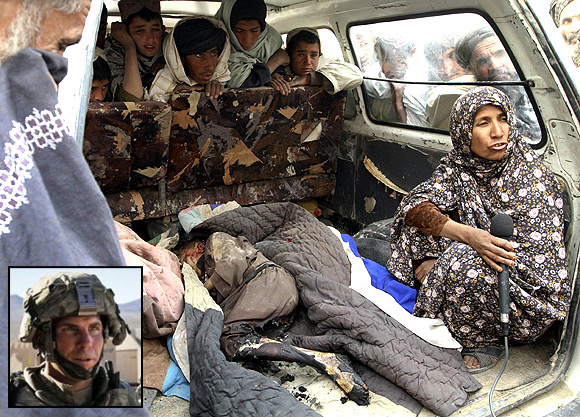 An Afghan woman is interviewed next to the body of a child killed by soldier who went on a shooting spree in Kandahar province. Inset: Staff Sgt Robert Bales