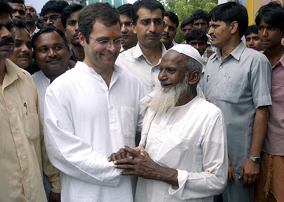 Rahul Gandhi is greeted by a Muslim supporter in Gauriganj village, Amethi