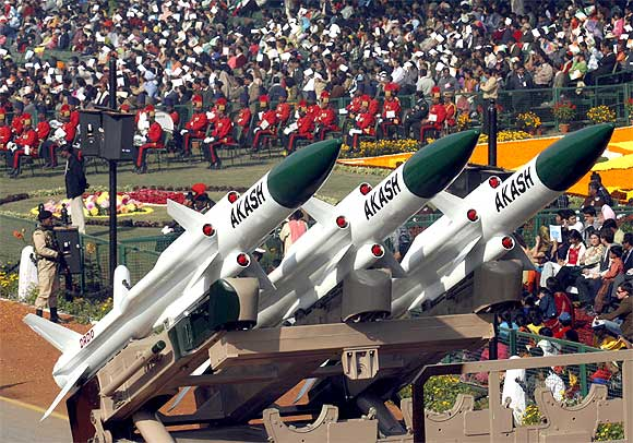 Akash missiles are displayed during the Republic Day parade