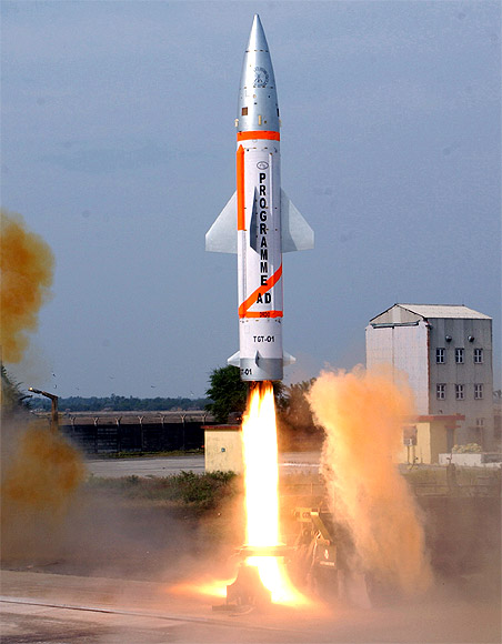 A modified Prithvi missile, simulating the enemy target, is launched